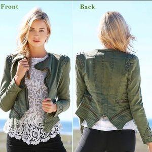 Chic me green studded jacket blazer xs s